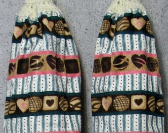 Chocolate Candies Hanging Hand Towels Set of 2