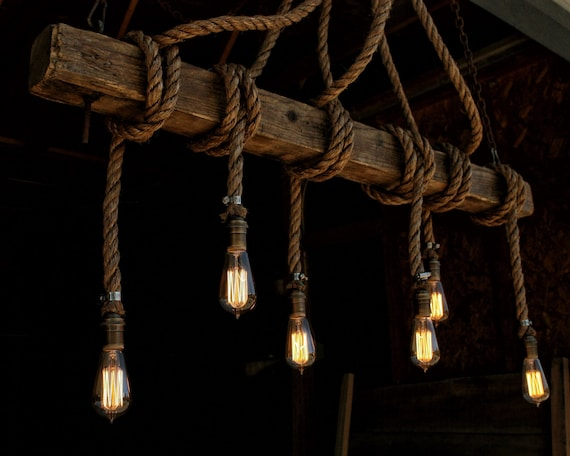 The ahab 6 industrial rope light barn beam pendant wood the ahab 6 industrial rope light barn beam pendant wood ceiling chandelier accent hanging lighting rustic edison bulb mozeypictures Choice Image