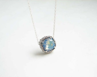 Swarovski Solitaire Necklace. Cushion Cut White Opal Starshine with Sterling Silver Chain. Bridesmaid GIft. Simple Modern Jewelry