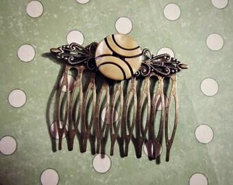 Gorgeous Bronze Tone Hair Comb With Unique Button Adornment