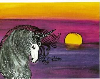 Unicorn purple sunset