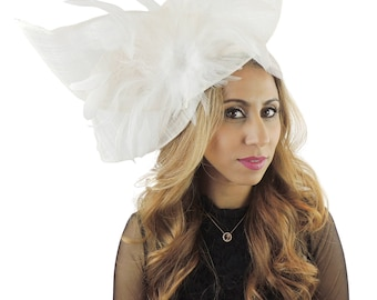 Viktoria White Fascinator Hat for Weddings, Occasions and KY Derby on a Headband( 40 colours avail)