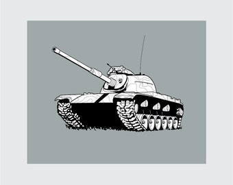 Tank Art Print, 8x10 PRINTABLE, M-60 Main Battle Tank, Instant Download, Digital