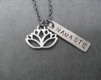 LOTUS FLOWER NAMASTE Yoga Necklace - Yoga Jewelry - Lotus Flower Necklace - Namaste Necklace on 18 inch gunmetal chain - Yoga Necklace