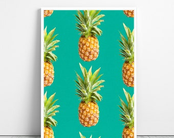 Pineapples art Print - Tropical Fruit Wall Art, Kitchen Decor, Pineapple Printable design, Digital Download, Mint and Yellow, Minimalist