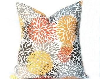 15% Off Sale PILLOWS,Decorative pillow cover, yellow gray pillow , Pillows Orange Pillow cover Orange Throw Pillows Decorative Pillows for c