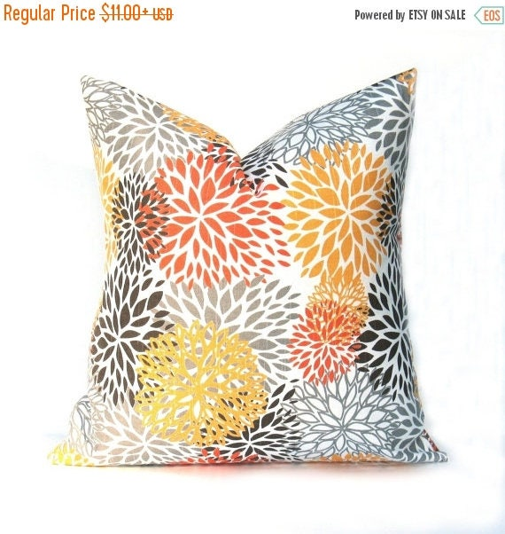 40% Off Sale PILLOWSDecorative Pillow Cover Yellow Gray Awesome Gray And Orange Decorative Pillows