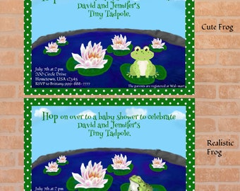Frog Tadpole pond Baby Shower Editable Printable Invitation