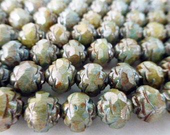 25 Czech Glass 8mm Fire Polish Round Rose Beads with Picasso Sage Green Luster Finish