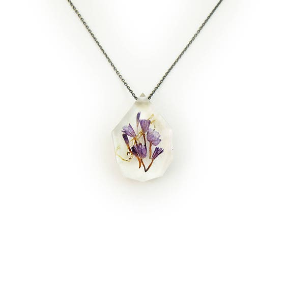 Purple and Lichen Dried Flower Eco Resin Necklace