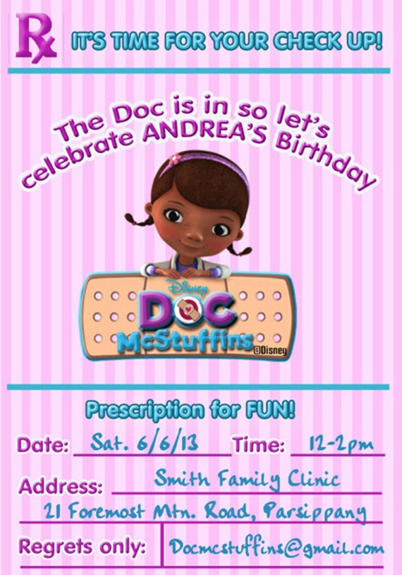 Doc McStuffins Invitation Doc McStuffins Birthday