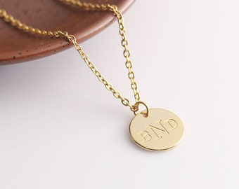 Gold Disc Necklace, Initial Disc Personalized Jewelry, Initials Name Necklace, Monogram Mother's Necklace