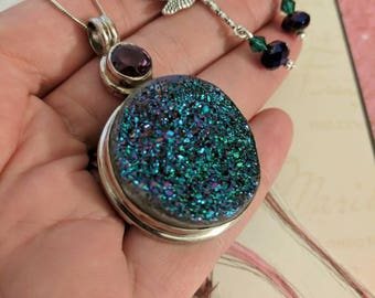 Midnight Bliss! Large Purple/Royal Blue and Amythest Sterling silver Druzy with Matching Dragonfly Earrings!