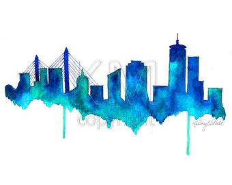 Watercolor Painting Boston Skyline Print Wall Art Abstract Painting Minimalist Painting Large Wall Art Housewarming Gift Living Room Decor