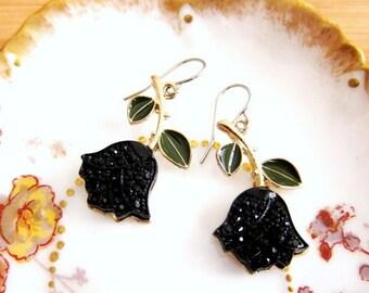 Black Rose Rhinestone Flower Earrings