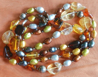 Gorgeous dyed freshwater pearls with real amber and citrine and sterling silver