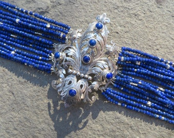 Peruzzi Jewelry,Repurposed Jewelry,Repurposed Brooch Bracelet,Multi Strand Lapis Bracelet,Lapis Jewelry,Gemstone Bracelet,Peruzzi SilverCuff