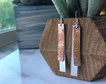 Hammered Copper Earrings, Vintage Hammered Earrings, Copper and Silver Earrings, Dangle Earrings, Modern Earrings, Bar Earrings