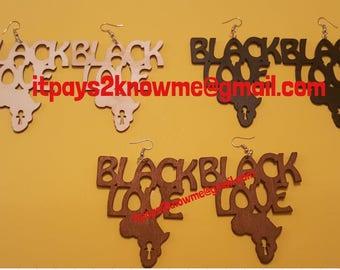 Black Love wooden earrings