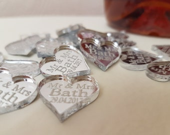 Personalised MR & MRS love heart wedding table decorations X 40