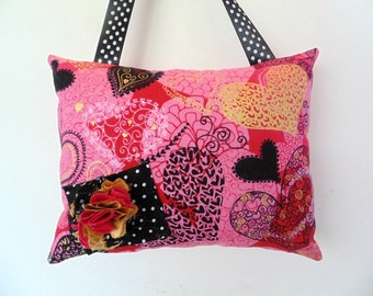 Girls Tooth Fairy Pillow, Hearts Tooth Fairy Pillow, Pink and Black Tooth Fairy Pillow,
