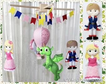 Ready To Ship: Baby Mobile - Prince, Princess, Dragon, Unicorn, Air Balloon - Hanging Ornament, Wall Hanging Decoration, Handmade Home Decor