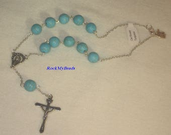 Turquoise Car Rosary, Single Decate Car Rosary,Auto Rosary,Rosary,Pocket Rosary,Catholic Rosary,Catholic,Prayer Beads,Travel Rosary,Cross