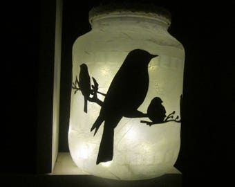 """Birds on branch"" LED tealight Lantern"
