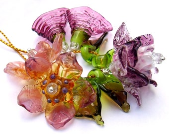 Lampwork Glass Flower Beads for Jewelry Making, Romantic Pink Bouquet, Spring Flowers, Set of 5+4 Flower beads, Made to Order