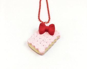 Pink Ice Cream Sandwich Necklace - Ice Cream Necklace - Dessert Jewelry - Food Jewelry - Dessert Necklace - Food Necklace - Kawaii Jewelry -