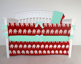 FREE SHIPPING - 4 Piece Crib Set - Elephant crib set, red elephant, elephant crib bedding