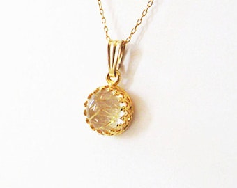 Gold Rutile Quartz Pendant Necklace in Gold Vermeil over Sterling Silver, Goldfilled Bail with Chain Options, Natural Gemstone Jewelry