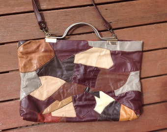 UNIQUE VINTAGE 70's patchwork crossbody boho leather handbag