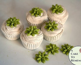"12 little edible succulents for mini cupcakes, 3/4""-1"" wide. Rustic flowers for cake and cupcake decorating or autumn cake toppers."