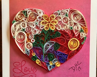 Quilled Heart on Canvas