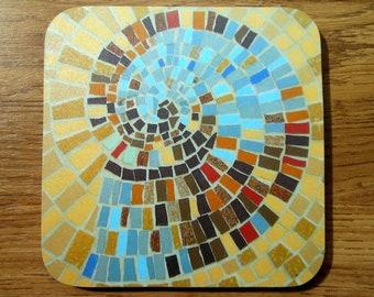 COASTER Snail Shell Coaster - Fossil Coaster - Mosaic Art - Cork Backed Coaster - Drinks Coaster - Fossil Shell - Coaster Set - Gift For Him