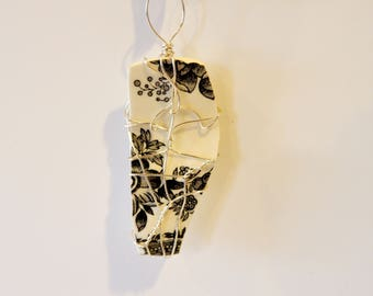 Broken Plate Pendant, Silver Wire Wrapped China
