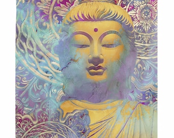 Buddha Tapestry - Light of Truth - Pastel Zen Buddha Artwork on Lightweight Polyester Fabric