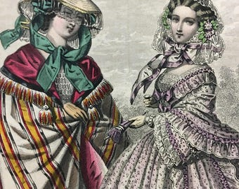 Lovely 1860s Victorian Civil War Era French color Fashion plate