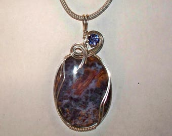 JAGUAR AGATE & IOLITE – Sterling Silver Wire Wrapped Pendant – Made In Maine