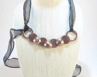 Copper Necklace, Hammered Copper and Ribbon