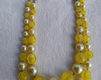 Vintage Hong Kong Yellow and White Beaded 2 Strand Necklace - 1950's
