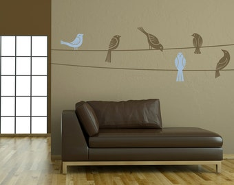 "Birds on Wire Vinyl Wall Decal Graphic 50""x14"" Home Decor"