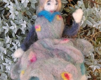 fairy puppet natural felted wool doll