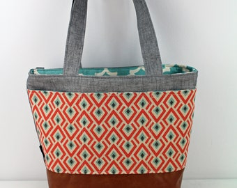Lulu Large Tote Diaper Bag On Point Coral with Grey Denim and PU Leather  - READY to SHIP Exterior pockets Nappy Bag