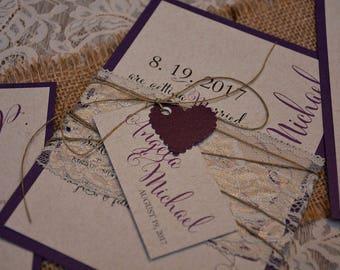 Rustic Wedding Invitation, Vintage Wedding Invitation, Lace Wedding Invitation, Kraft Wedding Invitation, Custom Invitation