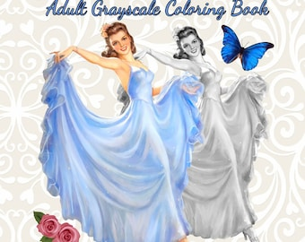 PDF of Spring Fantasy Retro Vintage Pin Up Girls Adult Grayscale Coloring Book--31 Coloring Pages.
