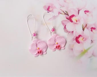 earrings orchid polymer clay
