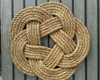 Rustic Rope Table Mat, Trivet, Large, Natural Manila, Celtic Knot, Wall Hanging, Nautical Decor. 11 inch (280 mm) dia.  Knotted and Sewn.