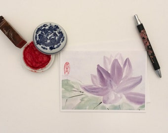 Blank Cards, Pack of 5 with Envelopes, Lotus, Any Occasion, Sumi-e, Chinese Watercolor, Print